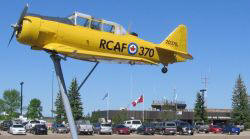 mounted Harvard trainer at Red Deer Regional Airport